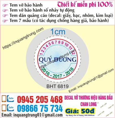 In tem bảo hành tại Ninh Thuận
