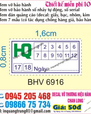 In tem bảo hành tại Phạm Văn Đồng