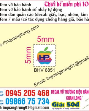 In tem bảo hành tại Phùng Hưng