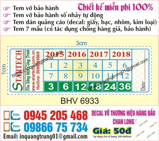 In tem bảo hành tại Sơn Tây