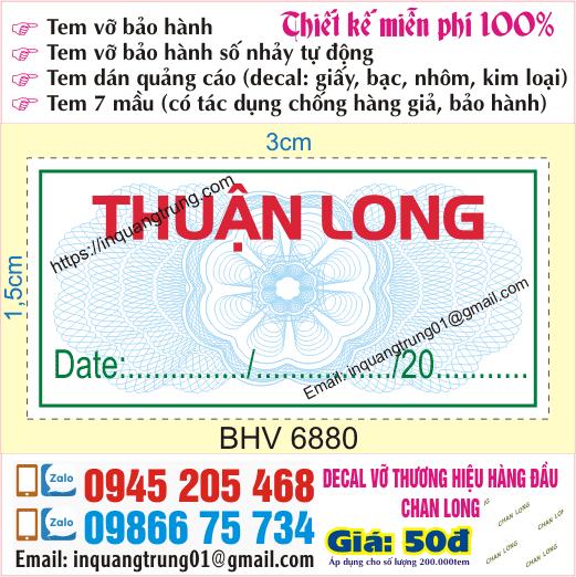 In tem bảo hành tại Tạ Quang Bửu
