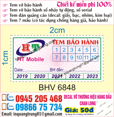 In tem bảo hành tại Trần Quý Cáp