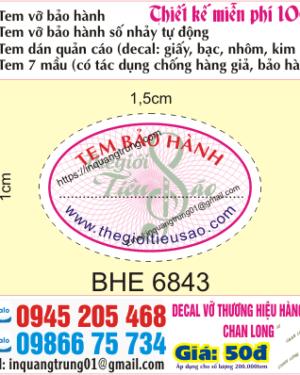 In tem bảo hành tại Vũ Phan Tông