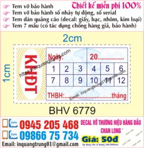 In tem bảo hành thiết kế miễn phí
