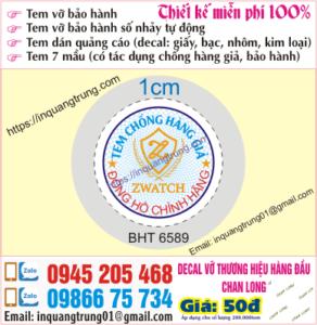 In tem bảo hành tại Quốc Oai