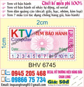In tem bảo hành tại hà nội, lấy ngay, thiết kế miễn phí