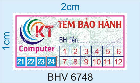 Mẫu tem bảo hành thông dụng