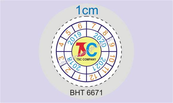 Mẫu tem bảo hành tròn 1cm
