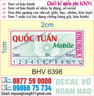 In tem bảo hành điện thoại tại Hoàng Mai