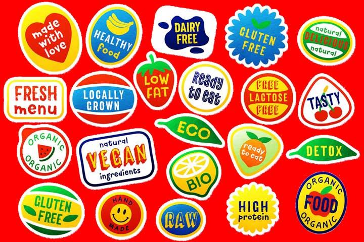 Thiết kế tem dán trái cây, cân đối, đẹp